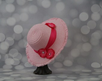 Tea Party Hat; Pink Easter Bonnet with Satin Ribbon; Girls Sun Hat; Pink Easter Hat; Sunday Dress Hat; Derby Hat; 16216