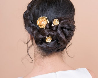 ROSE bobby pins with swarovski pearl wedding bridesmaids or bride
