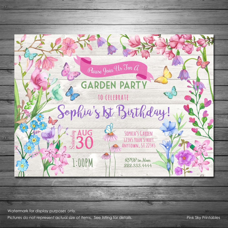garden party birthday invitation butterflies invitation. Black Bedroom Furniture Sets. Home Design Ideas