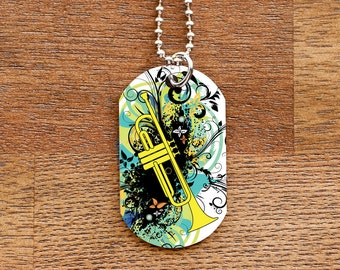 Trumpet Dog Tag Necklace for Band Geeks