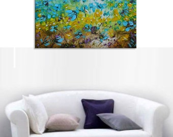 Windflowers - Original blue blue white turquoise yellow Floral Oil Painting Canvas Palette Knife gallery fine art ready to hang impasto
