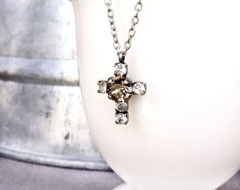 Cross Necklace - Multistone Jewelry - Inspirational Necklace - Crystal Pendant - Crystal Necklace - Gift for Her - Greige - Drop Necklace