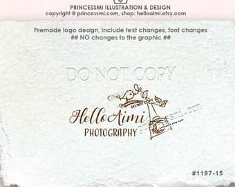 1197-15 photography logo, camera logo, Custom logo Premade Logo Design, bird tree branch camera watermark