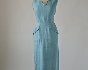 50's/60's Blue Wiggle Dress Cotton Linen Sleeveless size Small with Pockets