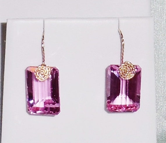 NATURAL 53 cts Octagon Mix cut Pink Topaz gemstones, 14kt yellow gold Pierced Earrings