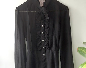 Dazzeling Sheer Button-Up Blouse with Jeweled Buttons  - Large
