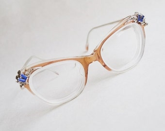 1950s Rhinestone spectacles / 50s tan & blue eyeglasses frames