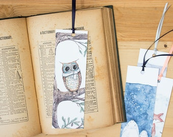 Winter Owl Bookmark - Owl illustration art bookmark with hand-tied ribbon