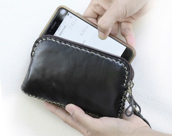IPhone6 Hand Sewn Zipper Leather Pouch, Black, sdzi6003