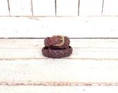 Dark brown woven braided leather belt/boho/hippie skinny leather boho belt/38