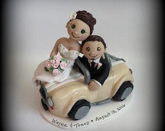 Wedding Cake Topper, Custom Cake Topper, Bride and Groom, Car, Polymer Clay, Wedding/Anniversary Keepsake