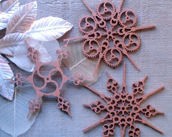 Steampunk Snowflakes Copper Finish Steampunk Ornament Steampunk Christmas