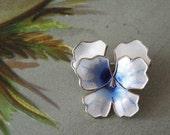 David Andersen Sterling Silver Guilloche Enamel Pansy Flower Pin Brooch