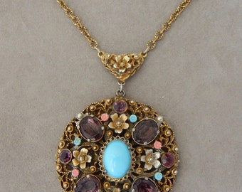 Vintage Large Amethyst & Gold Filigree Pendant Necklace on Gold Chain