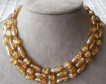 1950's  3-Strand Gold Foiled Art Glass Bead Choker Necklace
