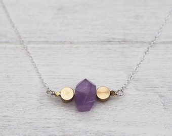 Roxo Necklace- Amethyst & Brass on Silver Chain