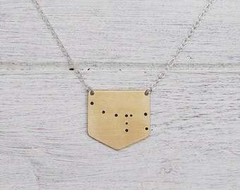 Ursa Minor 'Little Bear' Constellation Necklace in Brass or Sterling Silver