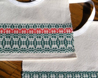 Christmas Baby Bibs, Holiday Baby Bibs Red and Green, Handmade Bib Set, Hand Woven Bibs, Set of Two Bibs, Hand Woven Bib Set, Two Bib Set