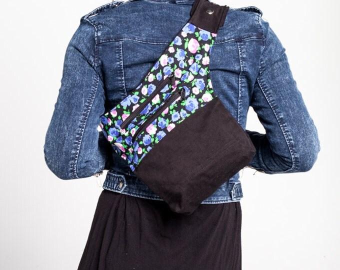 Floral Print Messemger Bag/ Roses Print Fanny Pack/ Spring Waist Bag