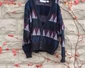 Grandpa Cardigan Sweater, Long Cardigan Sweater, Vintage Sweater, Ugly Sweater Party, Grandpa Sweater, Christmas Sweater, Triangles