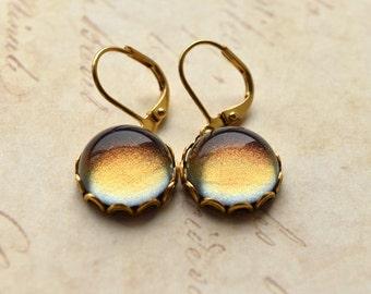 Cosmic Space Earrings, Colour Change Earrings, Purple Gold Bronze, Shimmer Earrings, Galaxy Jewellery, UK Earrings