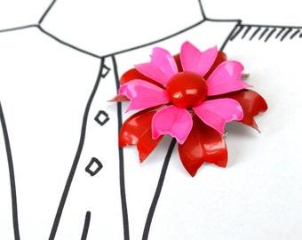 Vintage Enamel Funky Flower Brooch - Red Hot Pink