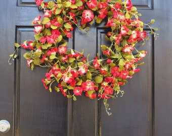 Ruby Red Petunia Wreath, Red Flowers and Greenery Wreath, Year Round Wreath, Spring Wreath