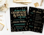 Bachelorette Party Invitation with Itinerary, Time to Drink CHAMPAGNE & DANCE on tables - Aqua Blue and Gold Glitter - 5x7 Printable