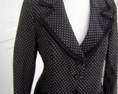Nanette Lepore Suit Tailored Black & White with Adorable Grosgrain Ribbon Trim Hot Pink Lining Size 12 CLEARANCE