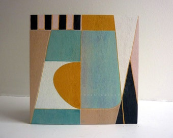 Mid century modern art painting, original one-of-a-kind, abstract wood art