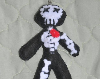 Key Chain Cute Felt Doll Skeleton with a heart