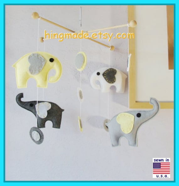 ON SALE !! Baby Mobile, Baby Crib Mobile, Nursery Decor, Elephant Mobile, Yellow Elephant Mobile, Polka Dot Mobile, Match Bedding Mobile