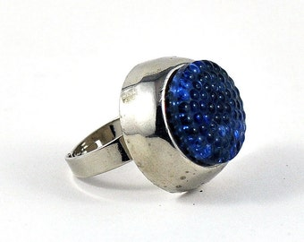 Upcycled Button Ring Cobalt Blue Silver Tones Statement Jewelry Industrial Glamorous Sparkly
