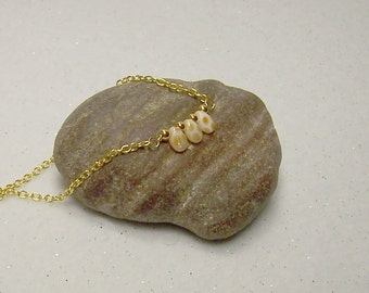 """Gold Necklace Gold Beaded Necklace Minimalist Jewelry Necklace Glass Pip Beads Beaded Necklace 18"""" 17"""" 16"""" 15"""" 14"""" - 15009"""