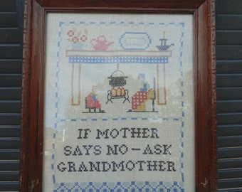 "Vintage Cross Stitch  ""ASK"" Grandmother and Grandfather adorable gift for grandparents"
