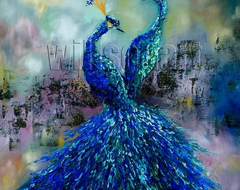 Peacock Oil Painting Textured Palette Knife Contemporary Modern Original Animal Art 24X24 by Willson Lau