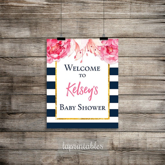 baby shower welcome sign personalized navy white stripe peony sign