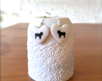 Bulldog Earrings, Heart with Bulldog Sterling Silver Earrings, Gift for Dog Lover, Porcelain Jewelry, Gift for her