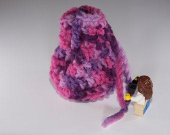 Coin Bag - Plum Pudding - Money Dice Token Medicine Bag - Drawstring - Pink Purple Lavender Orchid Multi Colour Color