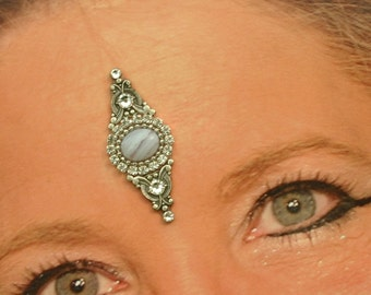 Genuine Blue Lace Agate Bindi in Oxidized Silver