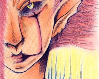 4x6 5x7 Fine Art Print, Dark Art, Dark Elf, Elf, Forest Creature, Fantasy Art, Fairytale Art, Pastel Drawing