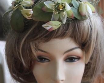 Vintage 1960s Gardenia Flowered Fascinator
