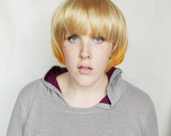 SALE Short Blonde wig | Straight Orange Fall Autumn wig | Scene Emo wig | Pumpkin Harvest