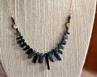 Tourmaline and Pyrite Necklace