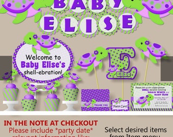 purple and green baby shower decorations. TURTLE Baby Shower Decorations or First Birthday Girl Purple  Invitation Banner Cake Topper Lion King Party Package