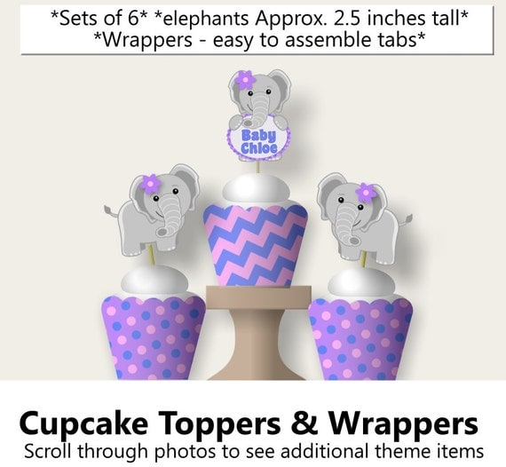 purple baby girl elephant baby shower cupcake toppers wrappers or