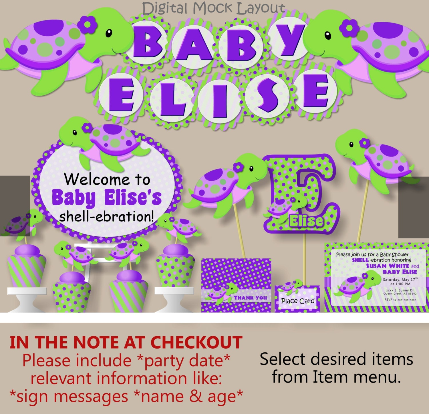 Purple Girl Sea TURTLE First Birthday Party or Turtle Baby