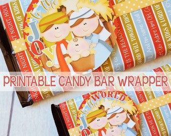 JOY to the World NATIVITY Candy Bar Wrapper, Gift Tag, Nativity Scene, Christmas Party Favor, Printable, Christmas in July -Instant Download
