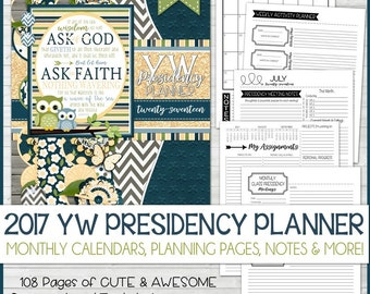 2017 YW Presidency Planner, YW Theme, Ask of God, LDS Young Women, Mormon, James 1:5-6, Calendar, Organizer - Printable Instant Download