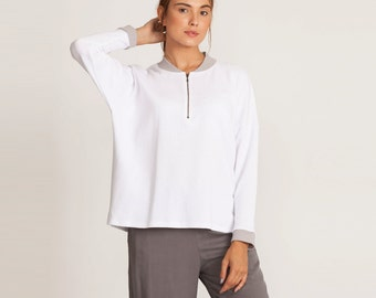 White shirt, Scoop neck, white sweatshirt, loose fit, white winter top, oversize top, long sleeves, tone to tone, sporty top, winter sale